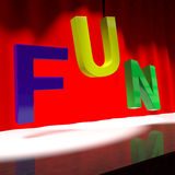 Fun Word On Stage For Enjoyment And Happiness. Fun Word On Stage Shows Enjoyment And Happiness Stock Photos