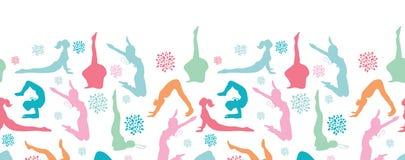 Fun workout fitness girls horizontal seamless Royalty Free Stock Image