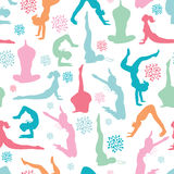 Fun workout fitness girls seamless pattern Stock Photo
