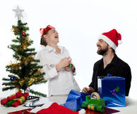 Fun Xmas Couple Royalty Free Stock Photography