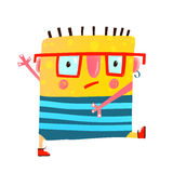 Fun yellow serious monster childish cute creature walking. Whimsical imaginary cartoon character in glasses go to study. Vector illustration Royalty Free Stock Images