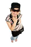 Fun young girl showing fingers. Sign. Isolate on white Royalty Free Stock Photo