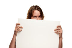 Fun Young Man Holding Blank White Sign Royalty Free Stock Photo
