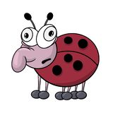 Fun zoo. big-eyed funny ladybug with a surprised face. Caricature colored sketch stock illustration