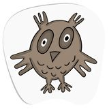 Fun zoo. Cute owl. Vector illustration. Cartoon sticker stock illustration