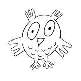 Fun zoo. Cute owl. Vector illustration. Coloring book design for kids stock illustration