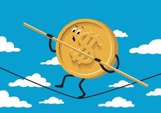 Funambule du dollar sur le fond avec le ciel et les nuages Photo stock