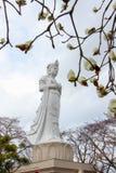 Funaoka Peace Kannon,white magnolia flowers,and cherry trees on the mountaintop of Funaoka Castle Ruin Park,Shibata,Tohoku,Japan. Stock Images