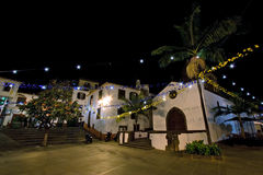 Funchal. Night secene with old square in funchal on madeira island, portugal Stock Image