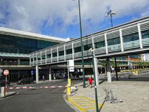 Funchal Airport on the island of Madeira in the Atlantic Ocean. Funchal is the Capital of the island of Madeira. The distinctive houses and rooves seem to pile Royalty Free Stock Photography
