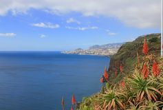 The bay and city of Funchal Madeira from Garajau Stock Photo