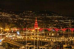 Funchal bij nacht, Madera, Portugal stock foto's