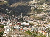 View over the rooftops in Funchal on the island of Madeira in the Atlantic Ocean. Funchal is the Capital of the island of Madeira. The distinctive houses and Stock Images