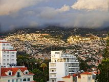 View over the rooftops in Funchal on the island of Madeira in the Atlantic Ocean. Funchal is the Capital of the island of Madeira. The distinctive houses and Royalty Free Stock Photo