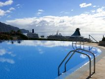 View of the waterfront with Cruise Ships in Funchal on the island of Madeira in the Atlantic Ocean. Funchal is the Capital of the island of Madeira. The Stock Photography
