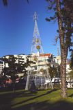 Huge Electric Lights forming a Christmas Tree in Funchal Madeira Royalty Free Stock Photography