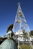 Huge Electric Lights forming a Christmas Tree in Funchal Madeira Royalty Free Stock Image