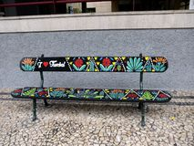 Painted bench on the main street in Funchal Madeira. Funchal is the Capital of the island of Madeira. Hotel and apartments are beautifully laid out as the land stock photos