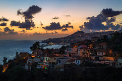 Funchal city, aerial view during sunset, Madeira Island stock photography