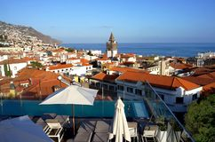 Funchal city from  topof a roof Royalty Free Stock Photos