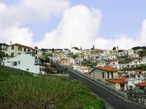 Funchal d'avvicinamento dall'aeroporto sull'isola della Madera fotografia stock