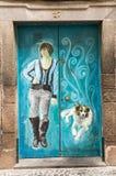 Funchal - de kunst van open deur in de straat van Santa Maria Een project dat aan ` open ` de stad aan artistieke en culturele vo Stock Foto
