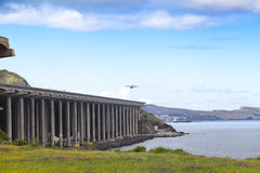 Funchal-Flughafenrollbahn, Madeira stockfoto
