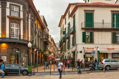 Funchal historical city center streets with people walking Royalty Free Stock Images