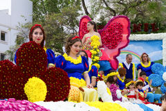 Funchal, Madeira - April 20, 2015: Participants in a Floral Float at the Madeira Flower Parade Royalty Free Stock Images