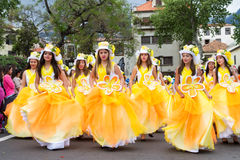 Funchal, Madeira - April 20, 2015: Young girls dancing in the Madeira Flower Festival Royalty Free Stock Photography