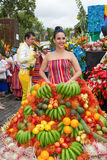 Funchal, Madeira - April 20, 2015: A young woman in a Fruits Costume in the Madeira Flower Festival 2015. Royalty Free Stock Image