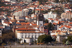 Funchal, Madeira and Cathedral, viewed from the sea. Royalty Free Stock Photos