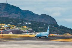 Enter Air Boeing 737 lands at Funchal Cristiano Ronaldo Airport. This airport is one of the most Royalty Free Stock Photography