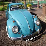 FUNCHAL, MADEIRA - JUNE 30, 2011: Blue retro car Volkswagen beetle Royalty Free Stock Photography