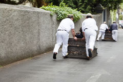 FUNCHAL, MADEIRA - MAY 20: Traditional downhill sledge trip on May 20, 2015 in Madeira, Portugal. Sledges were used as local trans. Traditional downhill sledge stock image