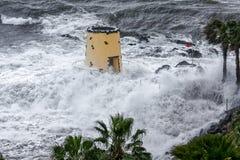FUNCHAL, MADEIRA/PORTUGAL - 9 APRILE: Colpire tropicale della tempesta Fotografie Stock Libere da Diritti