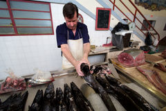 FUNCHAL, MADEIRA, PORTUGAL - JUNE 29, 2015:  Black scabbard fish Stock Photo