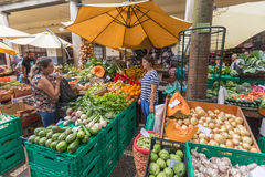 FUNCHAL, MADEIRA, PORTUGAL - JUNE 29, 2015: Bustling fruit and vegetable market in Funchal Madeira on June 29, 2015. Bustling fruit and vegetable market in stock photography