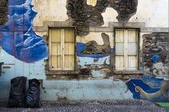 FUNCHAL, MADEIRA, PORTUGAL - SEPTEMBER 7, 2017: Ruinous facades Stock Photo