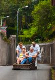 FUNCHAL, MADEIRA - SEPTEMBER 19: Traditional downhill sledge trip on September 19, 2016 in Madeira, Portugal.  royalty free stock images