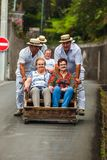 FUNCHAL, MADEIRA - SEPTEMBER 19: Traditional downhill sledge trip on September 19, 2016 in Madeira, Portugal.  stock image
