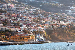 Funchal, Madeira viewed from the sea. Royalty Free Stock Photo