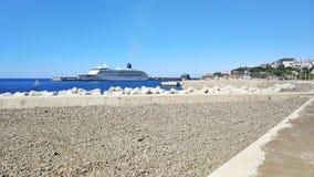 Funchal, Madiera port. Cruise ship departing. royalty free stock photos