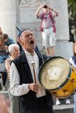 Folk musicians and dancers performing on the Avenida Arriaga  in Funchal on the Madeira Island, Portugal. Royalty Free Stock Image
