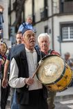 Folk musicians and dancers performing on the Avenida Arriaga  in Funchal on the Madeira Island, Portugal. Funchal, Portugal - April 19, 2018:  Folk musicians and stock photo
