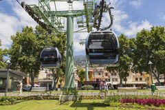 FUNCHAL, PORTUGAL - JUNE 25: Cable car to Monte on June 25, 2015 Royalty Free Stock Photos