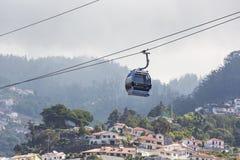 FUNCHAL, PORTUGAL - JUNI 25: Kabelwagen aan Monte op 25 Juni, 2015 Royalty-vrije Stock Fotografie