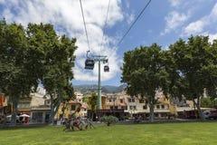 FUNCHAL, PORTUGAL - JUNI 25: Kabelwagen aan Monte op 25 Juni, 2015 Stock Fotografie