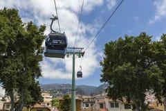 FUNCHAL, PORTUGAL - JUNI 25: Kabelwagen aan Monte op 25 Juni, 2015 Royalty-vrije Stock Foto