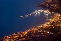 Funchal 's nachts, Madera royalty-vrije stock afbeeldingen